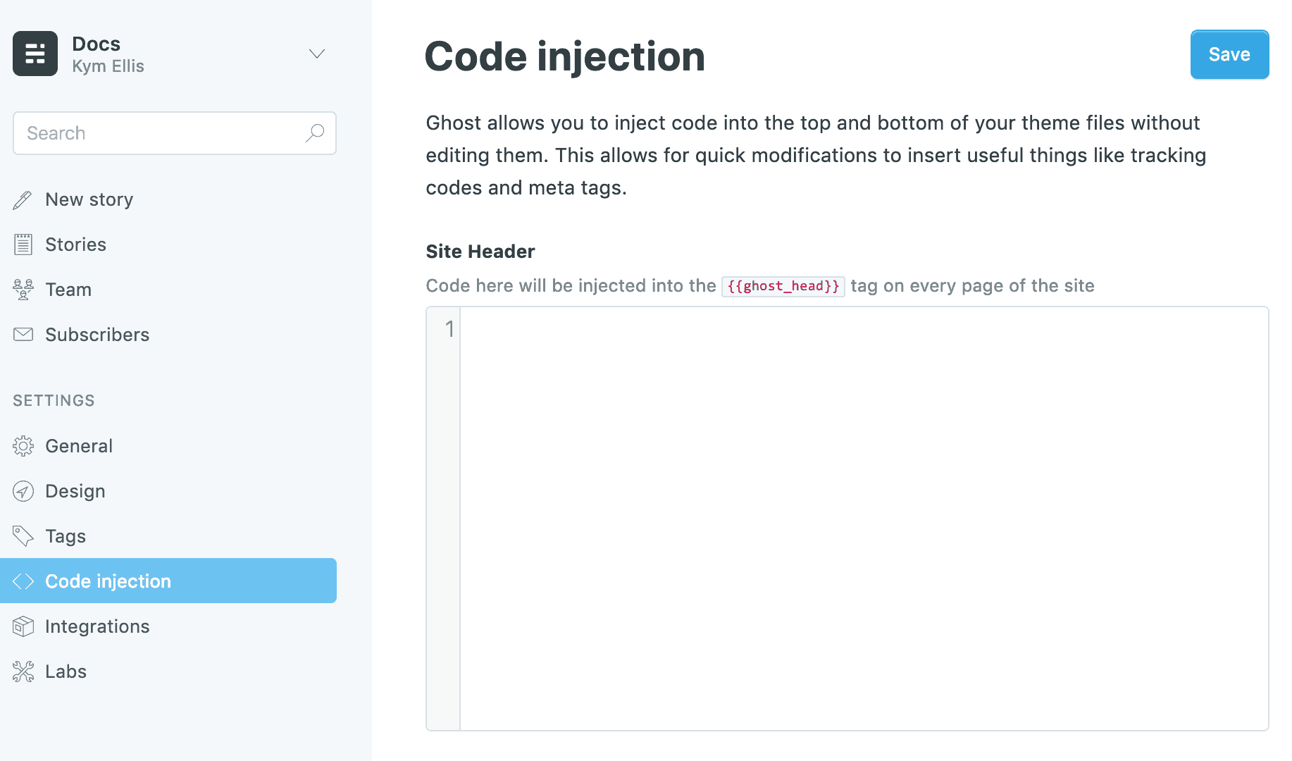 Code injection in ghost