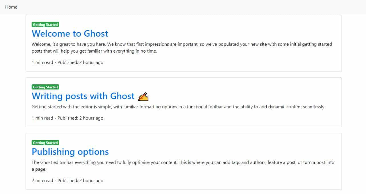 Custom template home page