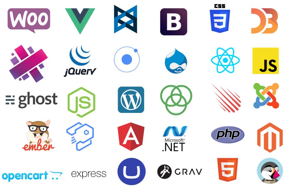 Popular web development frameworks and languages